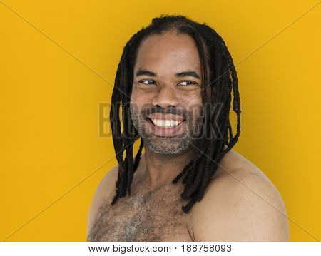 African Man Dreadlocks Bare Chest Smiling Portrait