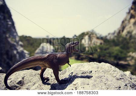 Tyrannosaurus rex jurassic figure toy on the mountain