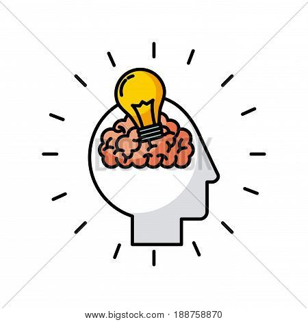 head brain bulb icon vector illustration design graphic
