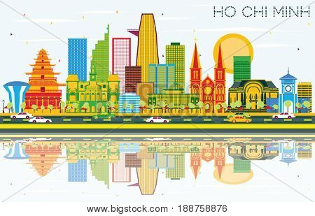 Ho Chi Minh Skyline with Color Buildings, Blue Sky and Reflections. Business Travel and Tourism Concept with Modern Buildings. Image for Presentation Banner Placard and Web Site.