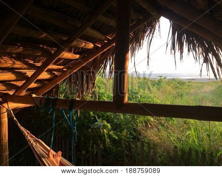Bamboo bungalow on the beach of Pacific Ocean