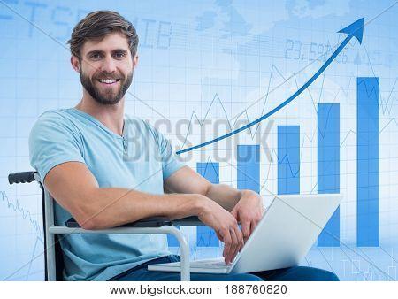 Digital composite of Man in wheelchair against blue graph