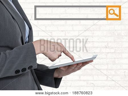 Digital composite of Search Bar with man on tablet