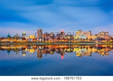 Harrisburg, Pennsylvania, USA Skyline on the Susquehanna River.