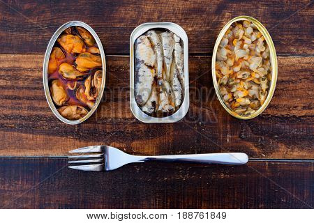 Different cans of canned. Healthy meal