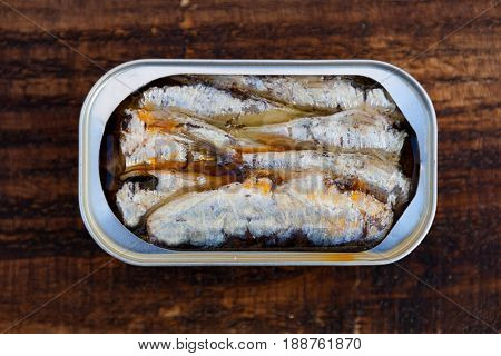 Cans of canned sardine . Healthy meal