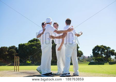 Smiling cricket players standing at field against clear sky