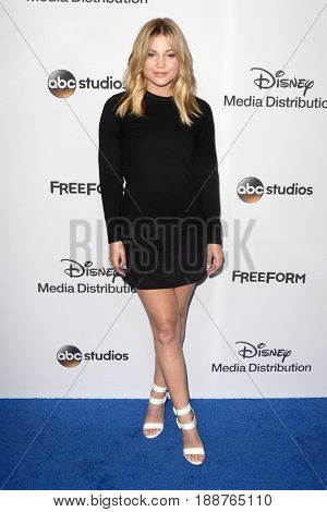 LOS ANGELES - MAY 21:  Olivia Holt at the 2017 ABC/Disney Media Distribution International Upfront at the Walt Disney Studios on May 21, 2017 in Burbank, CA