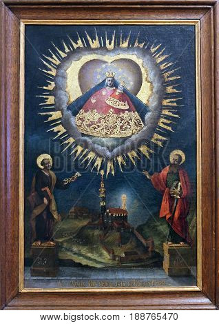 ZAGREB, CROATIA - FEBRUARY 15: Our Lady of Marija Bistrica presented as votive Madonna of the bell-shaped mantle, end of the 18th century, Zagreb, Croatia on February 15, 2015.