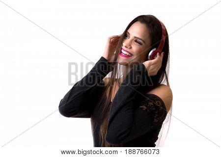 Latina listening music