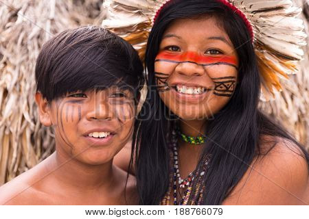Native Brazilian brothers from Tupi Guarani Tribe