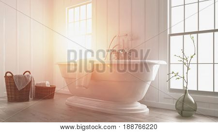 Modern white bathroom interior with a bright glowing sunbeam and flare coming through a large window lighting up the freestanding boat-shaped tub. 3d rendering.