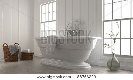 3d rendering of a stylish modern boat-shaped bathtub in a clean fresh white monochromatic bathroom with wicker baskets and plant in a glass jar