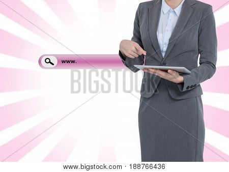 Digital composite of Search Bar with woman on tablet