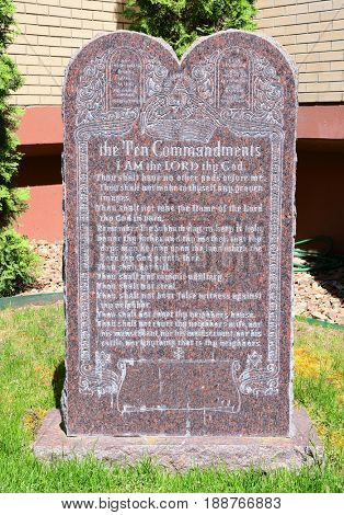 Monument commemorating the Ten Commandments of the Bible