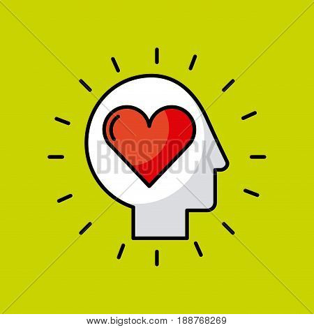 head heart illustration icon vector desgn graphic
