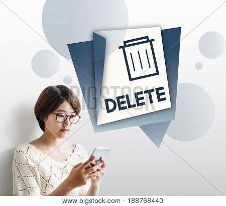 Illustration of garbage trash bin eliminate delete