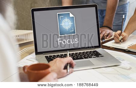Illustration of focus on goals target pay attention