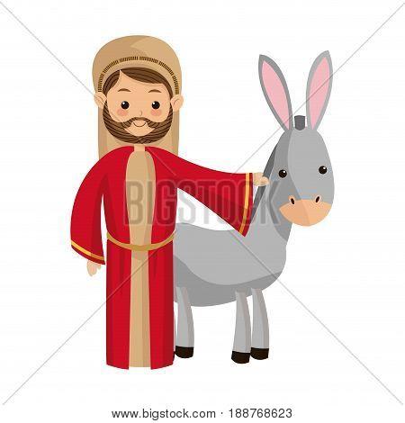 saint joseph with donkey manger cartoon vector illustration