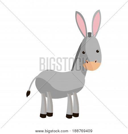 cute donkey cute cartoon manger image vector illustration