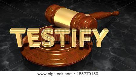 Testify Law Concept 3D Illustration