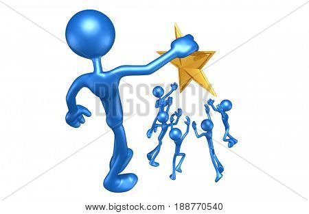 Holding A Gold Star Above Others The Original 3D Character Illustration