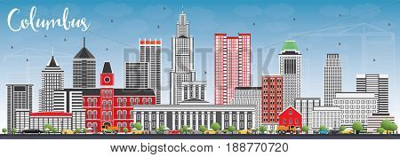 Columbus Skyline with Gray Buildings and Blue Sky. Business Travel and Tourism Concept with Modern Architecture. Image for Presentation Banner Placard and Web Site.