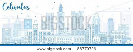 Outline Columbus Skyline with Blue Buildings. Business Travel and Tourism Concept with Modern Architecture. Image for Presentation Banner Placard and Web Site.