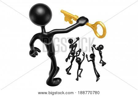 Holding A Gold Key Above Others The Original 3D Character Illustration