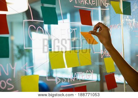 Hand of female executive sticking notes on glass board in office