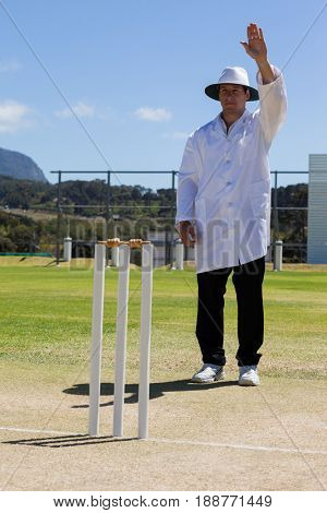 Cricket umpire signaling bye sign during match against blue sky on sunny day