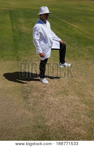 Cricket umpire signaling leg bye on field during match
