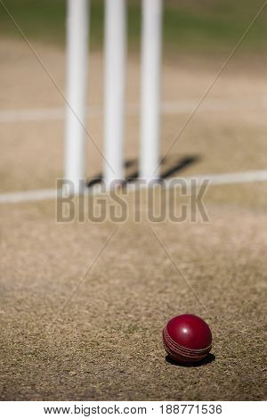 High angle view of cricket ball by stumps on field