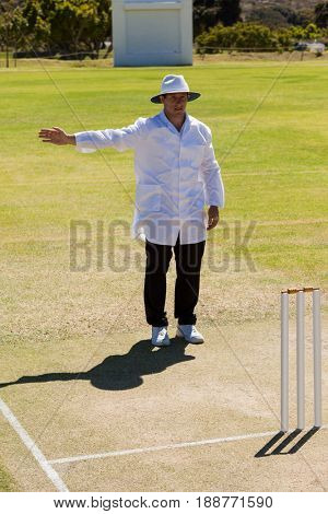 Full length of cricket umpire signalling no ball during match on sunny day