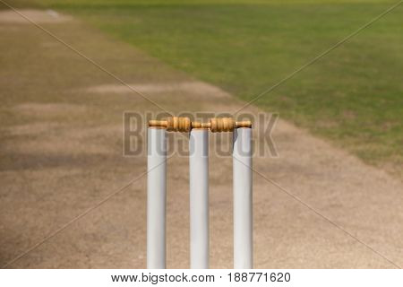 High angle view of stumps on cricket pitch