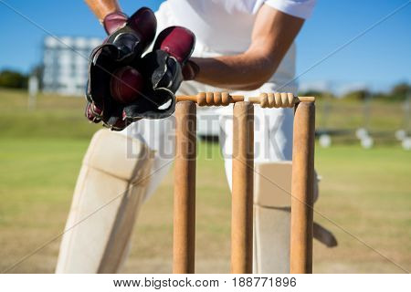 Cropped image of wicket keeper standing by stumps during match on sunny day