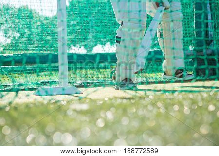 Low section of man playing cricket while standing on sports field