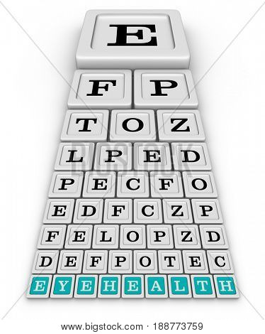 Snellen Eye Test Chart for eye examination. 3D illustration on white background.