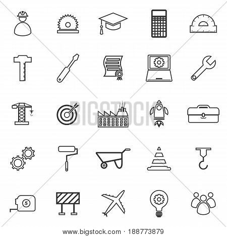 Engineering line icons on white background, stock vector