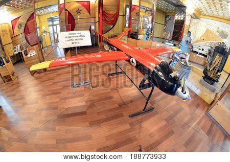 Soviet vintage special military drone 1960-70 for air-defense training. Museum of former Soviet  anti-ballistic missile testing range Sary Shagan. May 8, 2017. Priozersk. Kazakhstan