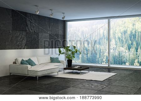 Trendy black and white living rom interior with a floor to ceiling view window overlooking woodland and tiled floor and wall detail with minimalist furnishings and potted plant. 3d rendering