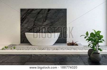 Stylish luxury bathroom interior with a raised pebble platform on which is a modern white boat-shaped oval bath in front of a black stone panel with houseplants in the foreground. 3d rendering