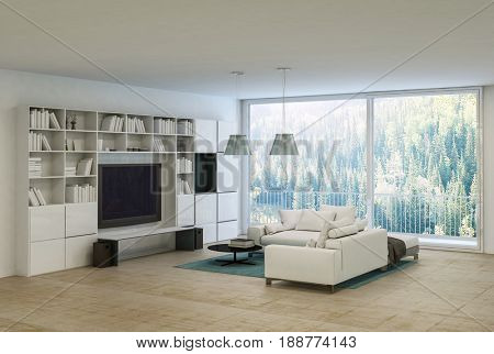 Comfortable modern monochrome living room interior in neutral white with a large sofa, bookcases on the walls and a flat screen television in front of large view windows overlooking trees 3d rendering