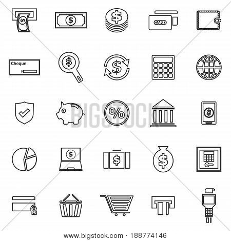 Payment line icons on white background, stock vector