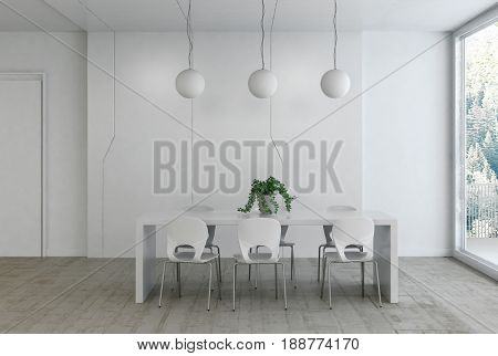 Elegant minimalist monochromatic white home interior with a modern dining table and chairs below three round ceiling lights with bright daylight from a large window. 3d rendering