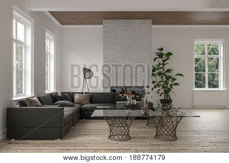 Spacious modern living room interior with fire insert and wooden floor and ceiling furnished with a large corner sofa and glass topped coffee table. 3d rendering