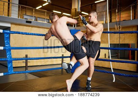 Two young kick-boxers practicing mix-fighting in gym