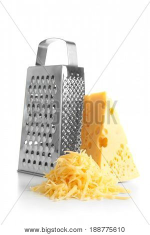 Grater and cheese on white background
