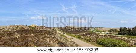 Sylt, Germany – May 11, 2017: Panorama of heath and dunes landscape at northern part of Sylt between Kampen and List.