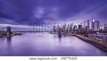 Brooklyn Bridge with Manhattan Skyline at dusk, New York City, long term exposure